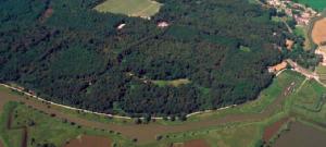 Uitzicht op de Grebbeberg. Op de voorgrond de Blauwe Kamer en de Grebbelinie, rechts de Bischop David Grift en bovenaan het Binnenveld. Foto: Provinchie Utrecht (Henk Bol)