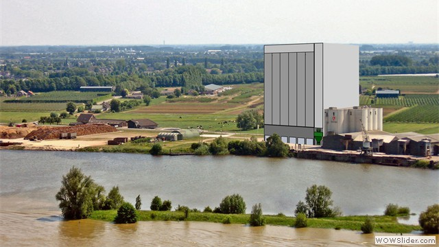 Montagefoto - oorspronkelijk voorstel van 60 meter hoge silo van AgruniekRijnvallei gezien vanaf Cuneratoren