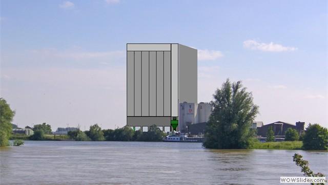 Montagefoto - oorspronkelijk voorstel van 60 meter hoge silo van AgruniekRijnvallei gezien vanaf de noordoever van de Rijn